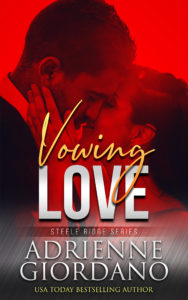 Cover for Vowing Love by Adrienne Giordano; Couple kissing with a red overlay; happy