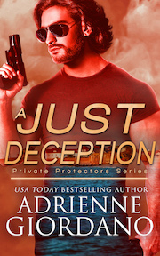 A Just Deception book title with a handsome dark-haired man wearing sunglass and holding a gun