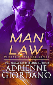 Man Law boot title with a dark haired handsome man wearing sunglasses looking down on a city skyline